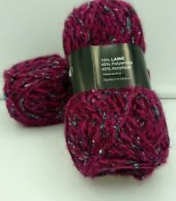 10 pelotes de laine  couleur : framboise tweed / fabriqué en FRANCE