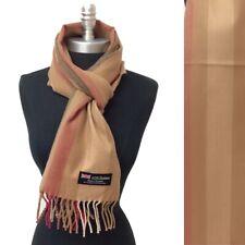 Men Women 100% CASHMERE SCARF Scotland Wool Wrap Striped Brown / red / black
