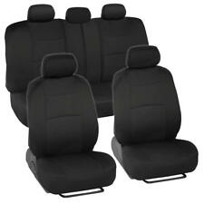 Classic Black Car Seat Covers w/ Universal Split Bench Zippers for Front & Rear