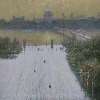 "NEW ORIGINAL MARK HARRISON ""Early Snow Tate Modern"" London snow Thames PAINTING"