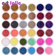 40 Colores Brillo Polvo Fino Polvo ollas Hágalo usted mismo Conjunto de Arte en Uñas Puntas Decoración