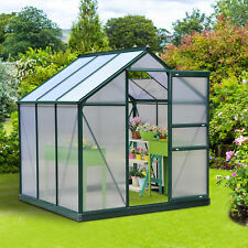 Outsunny 6'x6'x7' Aluminum Frame Walk In Greenhouse Garden Plant Green House New