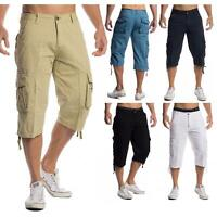 Mens Shorts 3/4 Loose Fit Bermuda Pants Short Summer Long Casual 100% Cotton