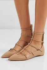 77abe5047c51 Christian Louboutin Beigetoerless Muse Buckled Leather Gladiator Flats Shoe  37