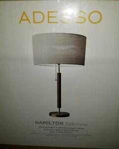 "New Adesso 26"" Hamilton Dark Walnut & Antique Brass Finish Table Lamp NIB"