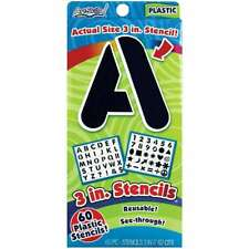 "Reusable Letters, Numbers & Shapes Stencils 3"" 60/Pkg 672125013489"