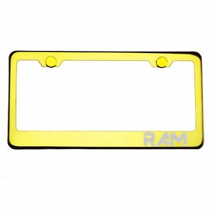 Gold Chrome License Plate Frame RAM Laser Etched Metal Screw Cap