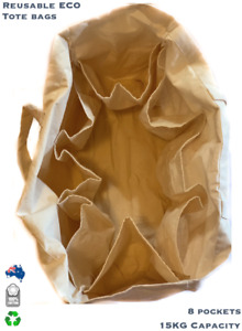 Tote Plain Shopping Cotton Bag Shoulder Canvas Creamy Natural Gift Blank 8Pocket