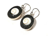 Bijou argent  925 boucles d'oreilles Galuchat oeil de Ste Lucie earring