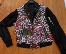 $1760 Mens DSquared2 Leopard Moto Jacket Black/Fuschia 44 XL