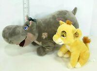 """Disney Store The Lion King Guard 9"""" Simba & 17"""" Beshte Hippo Plush Lot of 2"""