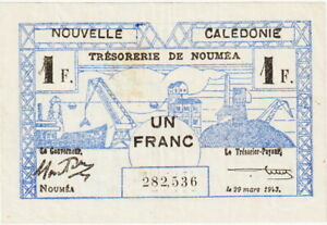 New Caledonia 1 Franc Banknote 29 3 1943 Choice Very Fine Condition Pick#54-B
