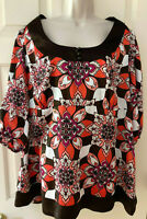 LANE BRYANT Scoop Neck Empire Waist Brown Multi Top Blouse ~ Sz 18/20  (NWT $45)