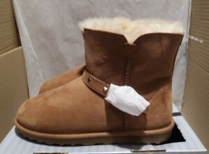 Ladies Girls Cozy Mate Shearling Buckle Boots - Australian Sheepskin - Chestnut