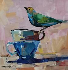 JOSE TRUJILLO Oil Painting IMPRESSIONISM 12X12 STILL LIFE BIRD TEA CUPS MODERN