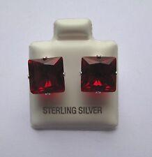 9mm Quadrat Prinzess Schliff Granat Cubic Zirkonia Sterling Silber Ohrstecker
