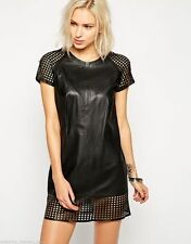 Leather Party Patternless Dresses for Women