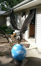 Yard art over 6 foot tall Eagle statue on ball with trout in claws custom paint