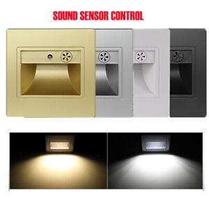 Sound Sensor LED Stair Step Lights Indoor Embedded Wall Light 1.5W AC 85-265V