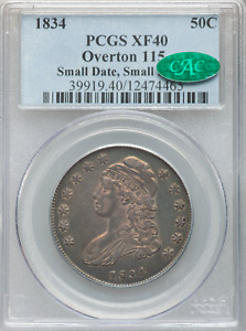 1834 Capped Bust Half O-115 Small Date, Small Letters R-2 PCGS XF40 CAC Pop 8/12