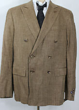 Ralph Lauren Suit Jacket Mens 42R Double Breasted Brown Tan Custom Fit