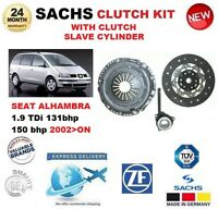 FOR SEAT ALHAMBRA 1.9 TDi 131 150 bhp 2002> SACHS CLUTCH KIT with SLAVE CYLINDER