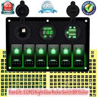 12V 24V Inline Fuse Box 2-LED Rocker Switch Panel USB Charger Socket Boat Marine