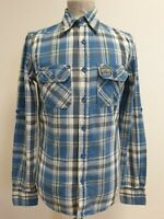 EE168 MENS SUPERDRY BLUE GREY WHITE CHECK L/SLEEVE COLLAR SHIRT UK S (1) EU 46