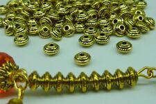 100 pce Tibetan Gold Saucer Spacer Beads 5mm x 3mm Jewellery Making Craft