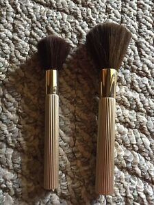 2 Gold Estee Lauder Blush Powder Large Medium Brushes NWOT