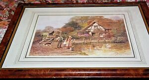 framed print behind glass Country Cottage Farmer Mother and daughter collie dog