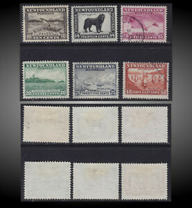 1932 NEWFOUNDLAND SMALL LIGHTLY USED LOT SCT.193-197 199 SG.215-219 228