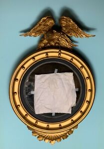 19th century English convex mirror regency with carved eagle