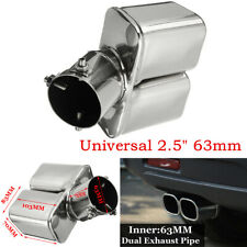 "63mm 2.5"" Car Accessorie Stainless Bent Dual Tail Throat Pipe Exhaust Muffler"