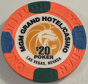 MGM GRAND $20 POKER Casino Chip Las Vegas Nevada 3.99 Shipping