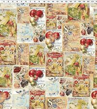 Vintage Seedpackets, Seed Packet  100% Cotton Fabric by Clothworks  FQ