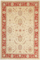 7X10 Hand-Knotted Oushak Carpet Traditional Beige Fine Wool Area Rug D44036