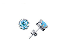 Royal Crown 925 Sterling Silver SP 1.5 Cts Aqua Blue Cubic Zirconia Stud Earring
