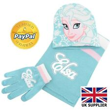 Frozen Elsa Infants 3 Piece Set Hat/Cap/Beanie Scarf and Gloves Blue Disney