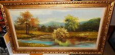 CANTRELL HUGE ORIGINAL OIL ON CANVAS RIVER MOUNTAIN LANDSCAPE PAINTING