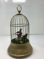 Triple Singing 3-Bird Cage Music Box Automaton 12� Motion German French