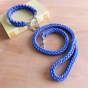 Pet Supplies Dog Collar Nylon Rope Eight-strand Braided with Traction Rope Chain