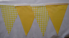 EASTER HUNT FABRIC BUNTING Yellow Gingham & Yellow Decoration Gift 2mt or more