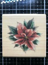 New Inkadinkado Rubber Stamp  Christmas POINSETTIA FLOWER wd mntd Free USA ship