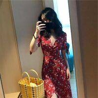 Sundress Floral V Neck Maxi Party Short Sleeve Casual summer Womens Long Dresses