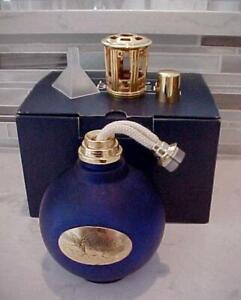 LAMPE BERGER FRAGRANCE AROMATHERAPY CATALYTIC OIL LAMP COBALT BLUE GOLD ACCENTS