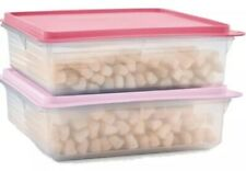 TUPPERWARE SNACK STOR SQUARE SHEER CONTAINERS BAKED GOODS WRAPS DELI SET/2 PINK