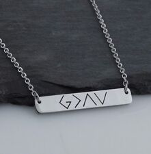 God is Greater Than the Highs and Lows - Stainless Steel Symbol Bar Necklace