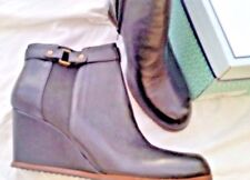 NEW NIB Womens Designer SUSINA BLACK LEATHER SEXY ANKLE WEDGE BOOTS SHOES 13 M