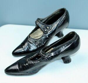 ANTIQUE Black EDWARDIAN Ladies Shoes LEATHER Louis French Heels